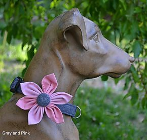 Barking Bitches Pink and Gray Dog Flower Collar.jpg